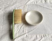 Vintage baby brush and ironstone butter pat bowl   Baby decor  shabby cottage