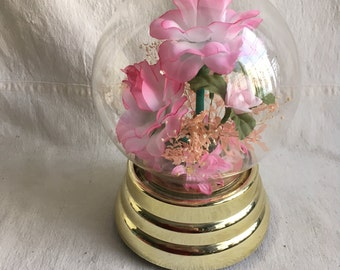 Vintage moving lighted music box  its a small world music box   Moving lighted roses music box