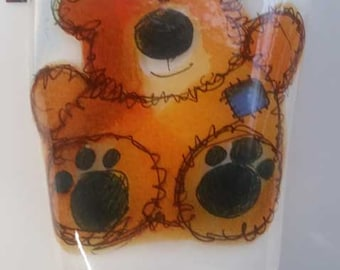 Fused Glass Night Light - Teddy Bear