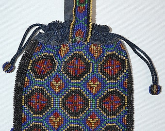 Vintage 1920s Hand Beaded Evening Bag Purse Red Green and Blue Geometric on Black