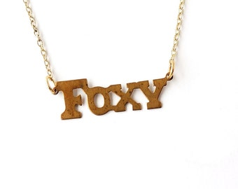 Foxy Necklace, Gold Foxy Word Necklace, Vintage Style, Fox Jewellery, Word Jewellery, Animal Jewellery, UK, 1257