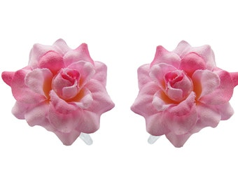 1 Pair Mini Light Pink/Pink Rose flower Hair Clip