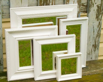 5 Bright White Shabby Chic Ornate Wall Mirrors