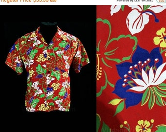 Size Large 1940s Men's Red Hawaiian Style Shirt - Tropical Flowers Print Cold Rayon - Mens 40s Rarity - Harper Sportswear - Chest 46 - 45035