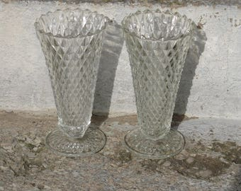 indiana glass diamond point clear pressed glass vases pair diamond pattern pedestal base wedding vases
