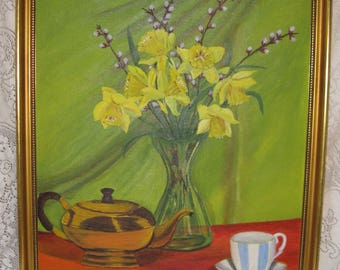 oil painting still life daffodils chartreuse yellow signed painting kitsch 20 by 24 inches