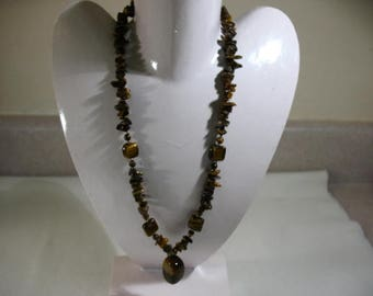 Vintage Tiger Eye Necklace with Rectangular Pendant Drop