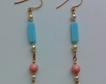 Delicate gold plated earrings with Swarovski pearls