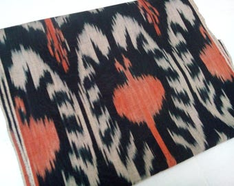 Uzbek traditional handwoven cotton ikat. Pomegranates. F037