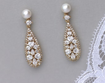 Gold Crystal Earrings, Teardrop Gold Earrings, Pearl Stud Earrings,  RITA PP