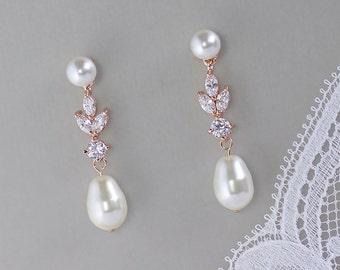 Rose Gold Earrings, Pearl Stud Bridal Earrings, Crystal and Pearl Bridal Earrings, ASHLEY PPD