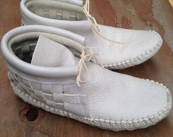 Woven White Moccasins Custom
