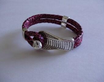 Pink Cobra Snake Silvertone Slide Clasp Leatherette Cord Bracelet