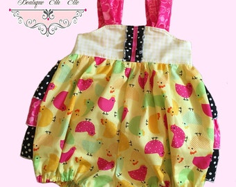 Girls Bubble Romper Sunsuit Ruffled Bum Little Chickies Collection Toddler Infant Girls