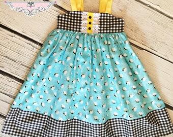 Girls Reverse Knot Dress Bumblebees Black Check Yellow Aqua Toddler Infant Girls