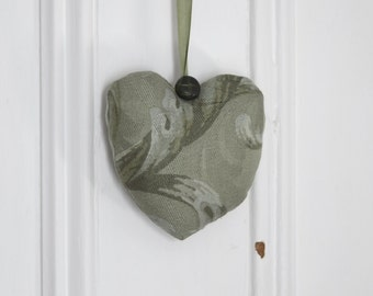 Fabric heart to hang Acanthus Ornament Door hanger Victorian Decoration Green Damask Gift