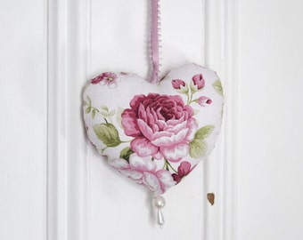Fabric heart to hang Symphony Pink Flowers Roses Ornament Door hanger Victorian Decoration Small gifts for women and girls