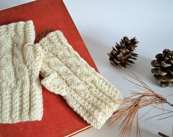 Knit white gloves for winter, fingerless mittens in white wool for women