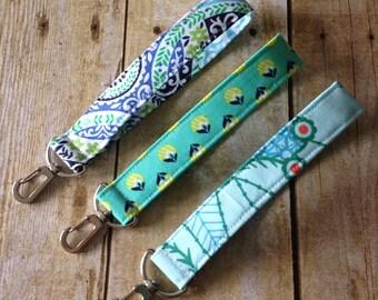 Fabric Keychain  / Wristlet Key Fob / Wrist Keyfob with swivel clip- Aqua Blue Cotton Fabric