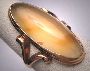 Antique Agate Ring Vintage Victorian Rose Gold Wedding Moonstone Glow
