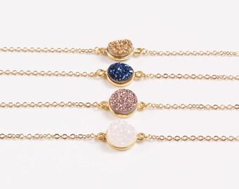 Druzy Gold Bracelet | Druzy Bracelet | Rose Gold Druzy Bracelet | Boho Jewelry Ideas |  Druzy Stone Bracelet | White Druzy Bracelet