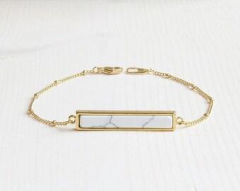 10% OFF CYBER WEEK White Marble Bar Bracelet   Gold Bar Bracelet   Gold White Marble Bar Bracelet   Gold Layering Bracelet