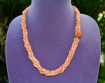 Natural 1950 HAWAII New Pink CORAL & PEARL 6 Strands 14k Twisted Necklace 22.5""