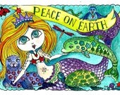 Peace On Earth Instant download Mermaid Christmas Art Card