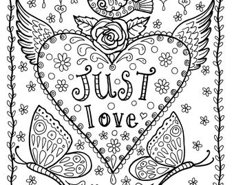 Love Instant Download Coloring Page Adult Books Pages Digital Art Valentine