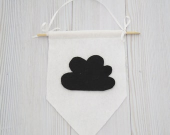 Felt flag , cloud banner , cloud flag , black and white wall art , black and white room , nursery decor