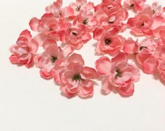 20 Delphinium Blossoms in Watermelon Peachy Pink - OOAK- Artificial Flowers, Silk Flowers, Hair Accessories, Millinery, Flower Crown