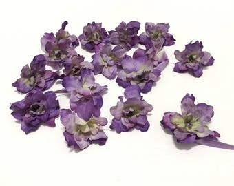 15 PURPLE Delphinium Blossoms - 2 Inches - Artificial Flowers, Silk Flowers, Flower Crown, Millinery, Wedding Flowers, Hair Accessories, Hat