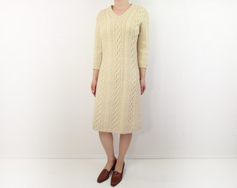 VINTAGE Sweater Dress 1950s Cable Knit