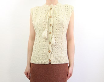 VINTAGE Wool Cardigan Sleeveless Tassel Sweater Hand Knit