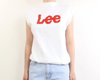 VINTAGE Lee Denim Sleeveless Sweatshirt White Logo