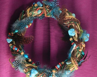 Turquoise and Feather Wreath OOAK