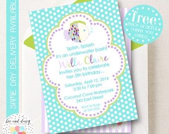 Purple Rainbow Fish Invitation, Rainbow Fish Birthday Invitation, Rainbow Fish Party, Girl First Birthday, Girl Birthday Rainbow Fish Invite