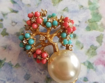 Vintage Boucher Brooch or Pin Gold Tone Metal Faux Pearl Clear Rhinestones Turquoise and Coral Costume Jewelry Asian Style Flowers Tree