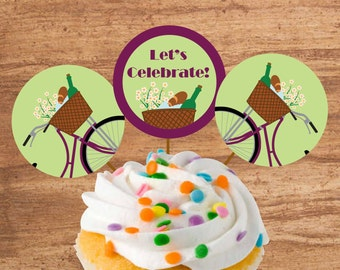 Instant Download Bike Ride Party Cupcake Toppers or Craft Circles