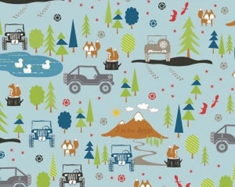 Jeep fabric J is for Jeep Main in Blue by Riley Blake Fabrics Half Yard