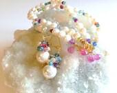 WINTER SALE Freshwater Pearl Colorful Gemstone Multistrand Bracelet Earring Set Pink Topaz Charms Confetti Bracelet Bridal Jewelry Set Weddi