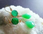 20% Anniversary Sale Green Chalcedony Spring Green Druzy Double Drop Dangle Earrings Gemstone Earrings Resort Jewelry