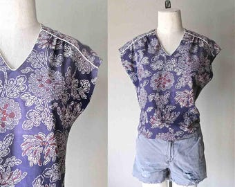 Vintage boho blouse PURPLE FLORAL sleeveless V-neck top - M/L