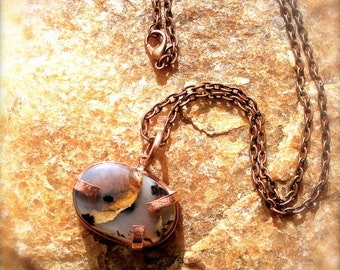 """Agate on Copper Pendant with 18""""Copper Chain-50% of the price is donated to the Sierra Club!"""