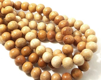 "Meranti Wood Beads, 10mm, ""Philippine Mahogany,"" Light, Round, Natural Wood Beads, Smooth, Large, 16 Inch Strand - ID 2169-LT"