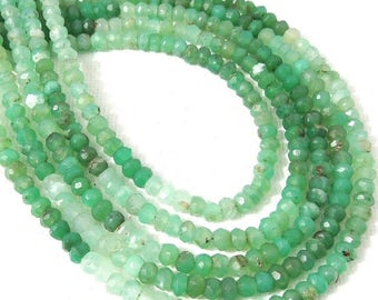 Chrysoprase, 3mm - 4mm, Rondelle, Faceted, Light, Dark Green, Shaded, Natural Gemstone Bead, Untreated, Very Small, 13 Inch Strand - ID 2316
