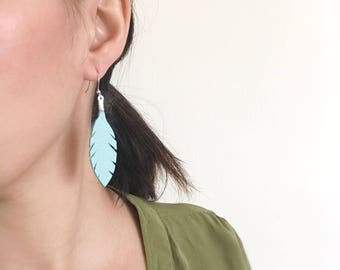 Feather Earrings, Blue Leather Jewelry, Bohemian Boho, Gypsy Soul, Aqua Blue Silver, Third Anniversary, Funky Edgy Earrings Unique Gift Idea