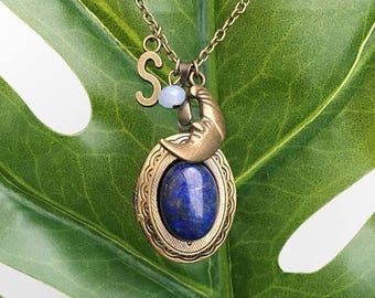 Get 15% OFF - Natural Gemstone Cabochon Antique Bronze Oval Photo Locket Necklace - Labor Day SALE 2017