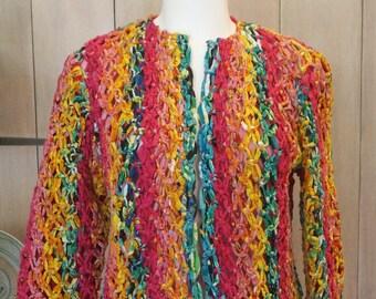 Free Shipping! Vtg. SANDY STARKMAN Crochet Multicolor Jacket-Size Small