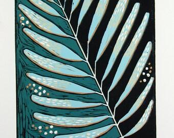 linocut, leaf, blue, green, leaves, greenery, home interior, modern art, linocut print, printmaking, colorful, art